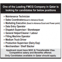 One of the Leading FMCG Company in Qatar is looking for candidates for below positions